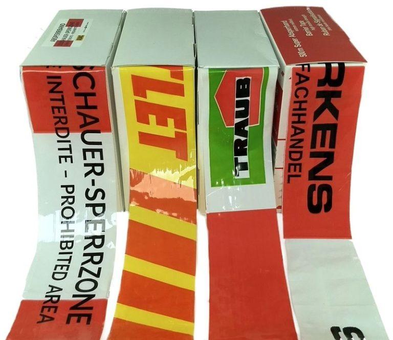 Absperrband-rot-weiß bedruckt Logos