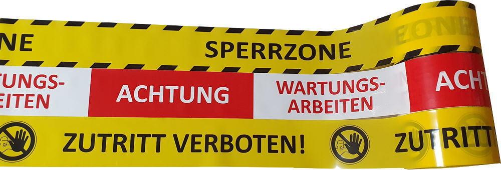 Warnband Achtung Wartungsarbeiten - Zutritt verboten - Sperrzone - Absperrband